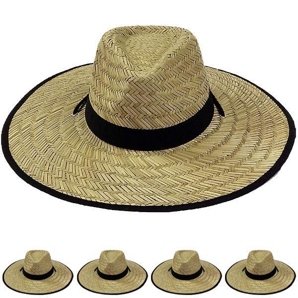 a6030efe2e28f 24 Units of Men s Large Black Brim Straw Hat - Sun Hats - at -  alltimetrading.com