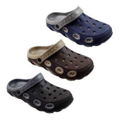 5e59fcfbe1d740 36 Units of Mens Two Tone Double Layer Garden Clogs - Men's Flip Flops and  Sandals - at - alltimetrading.com