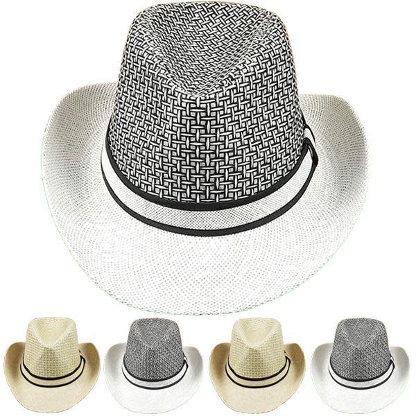 774dc8c6 24 Units of Men's Straw Summer Cowboy Hat - Sun Hats - at -  alltimetrading.com
