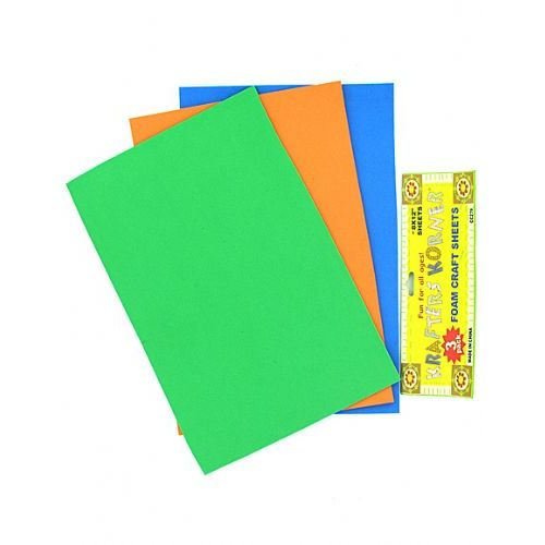 72 units of 3 pack foam craft sheets assorted colors for Red craft foam sheets