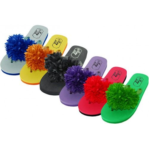 cfa5954d7 48 Units of Women s Silk Flower Top Flip Flops - Women s Flip Flops - at -  alltimetrading.com