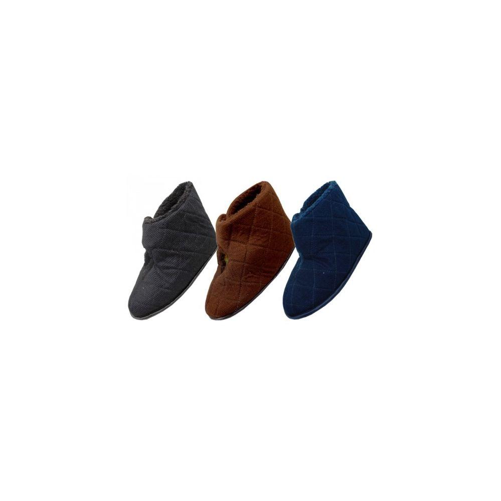 36 Units of Men's Corduroy Velcro Wrap Bedroom Boots - Mens Slippers