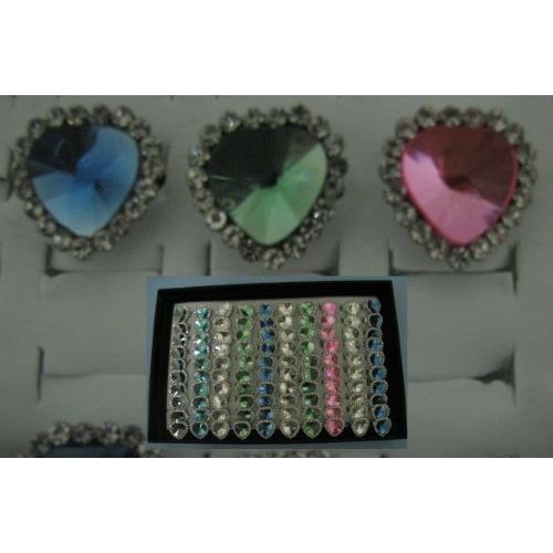 100 Units of Adjustable Ring-Tear Drop with 19 Stones - Rings