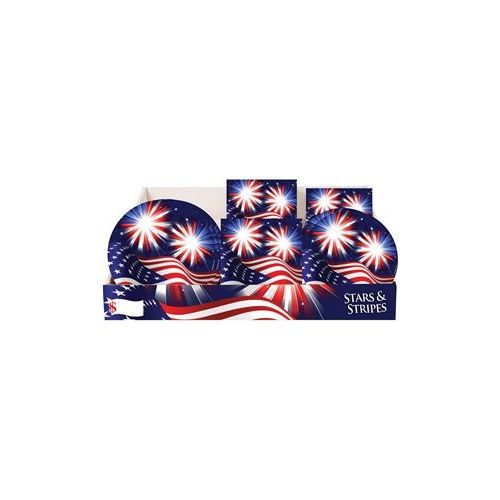Stars & Stripes Pre-Packed Counter Shipper, 96 Ct. - Party Tableware