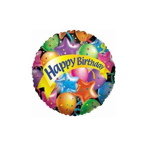 """100 Units of Mylar 18"""" DS-Happy Birthday w/Festive Balloons"""