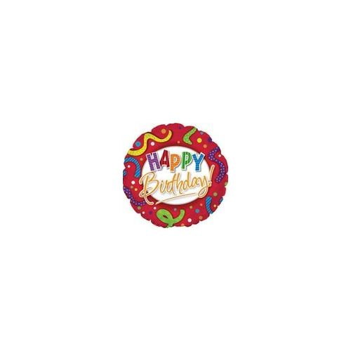 """100 Units of Mylar 18"""" DS - Happy Birthday Red Stripes and Dots"""