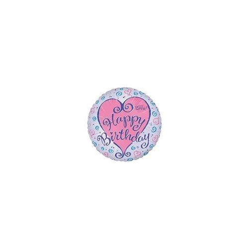 "100 Units of Mylar 18"" DS-Happy Birthday Hearts Swirl - Balloons/Balloon Holder"