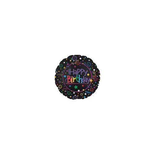 """100 Units of Mylar 18"""" DS - Happy Birthday Black"""