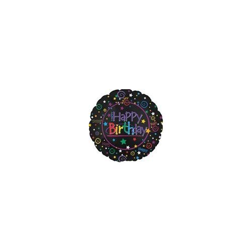 "100 Units of Mylar 18"" DS - Happy Birthday Black - Balloons/Balloon Holder"