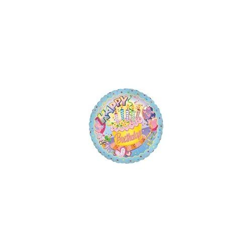 """100 Units of Mylar 18"""" DS - Happy Birthday Cake and Balloons - Balloons/Balloon Holder"""