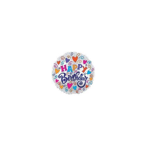 "100 Units of Mylar 18"" DS-Birthday Hearts & Swirls"