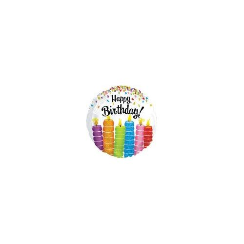 "100 Units of Mylar 18"" DS - Happy Birthday Colorful Candles - Balloons/Balloon Holder"