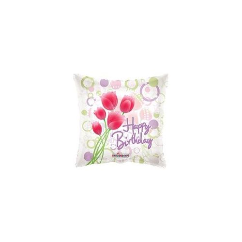"""100 Units of Mylar 18"""" DS - Birthday Tulips Clearview"""