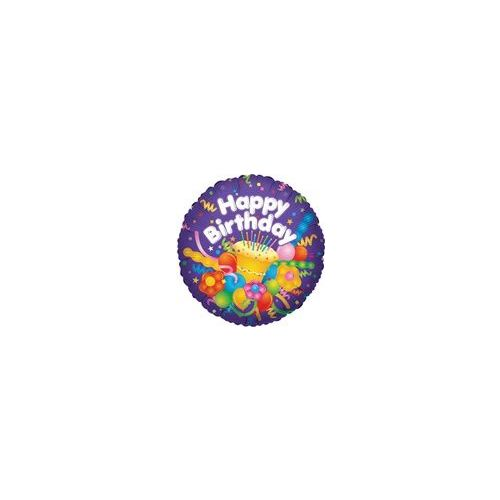 """100 Units of Mylar 18"""" DS - Happy Birthday with Cake - Balloons/Balloon Holder"""