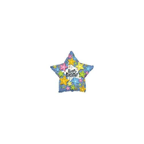 "100 Units of Mylar 18"" DS - Happy Birthday Stars Star"