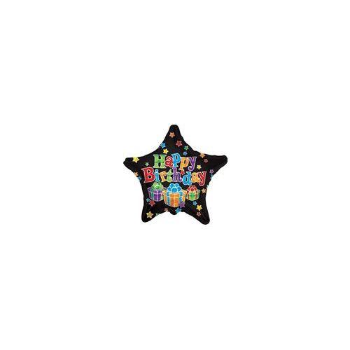 "100 Units of Mylar 18"" VLU DS - Birthday Big Dots Star Black - Balloons/Balloon Holder"