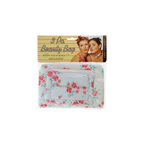 144 Units of 3 Piece Beauty Bag Asst Styles - Cosmetic Cases