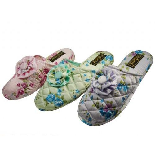 48 Units of Ladies Floral House Slipper L-XL - Womens Slippers
