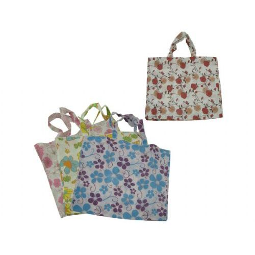 72 Units of large flower tote bag 4 assorted designs - Tote Bags & Slings