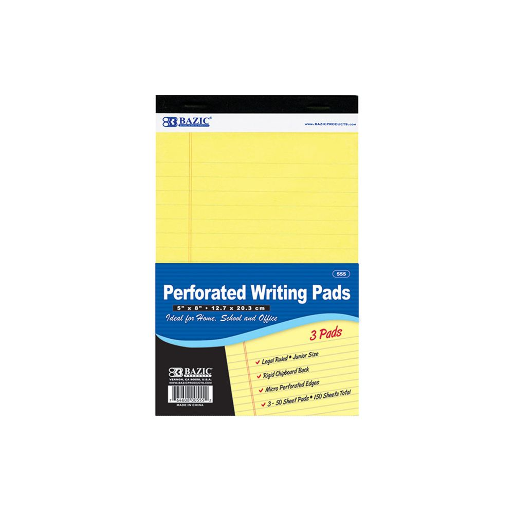 """24 Units of 50 Ct. 5"""" X 8"""" Canary Jr. Perforated Writing Pad (3/Pack)"""