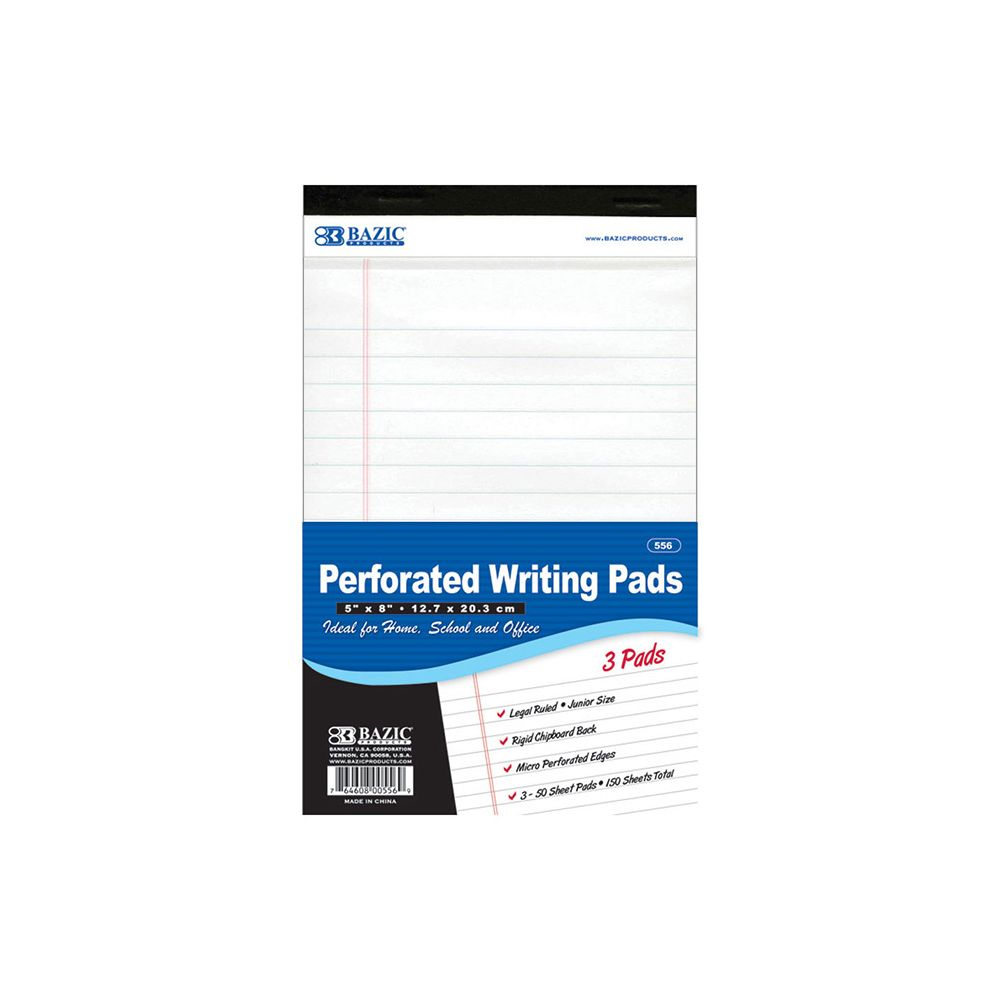 """24 Units of 50 Ct. 5"""" X 8"""" White Jr. Perforated Writing Pad (3/Pack) - PAPER"""