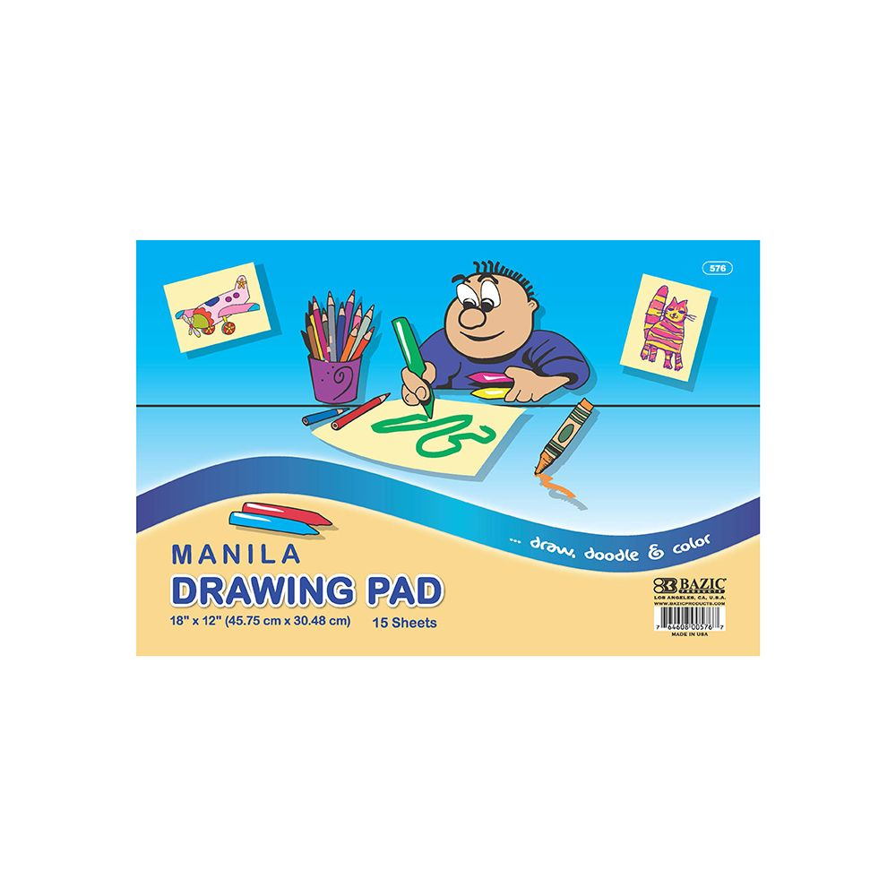 "48 Units of 15 Ct. 18"" X 12"" Manila Drawing Pad - PAPER"