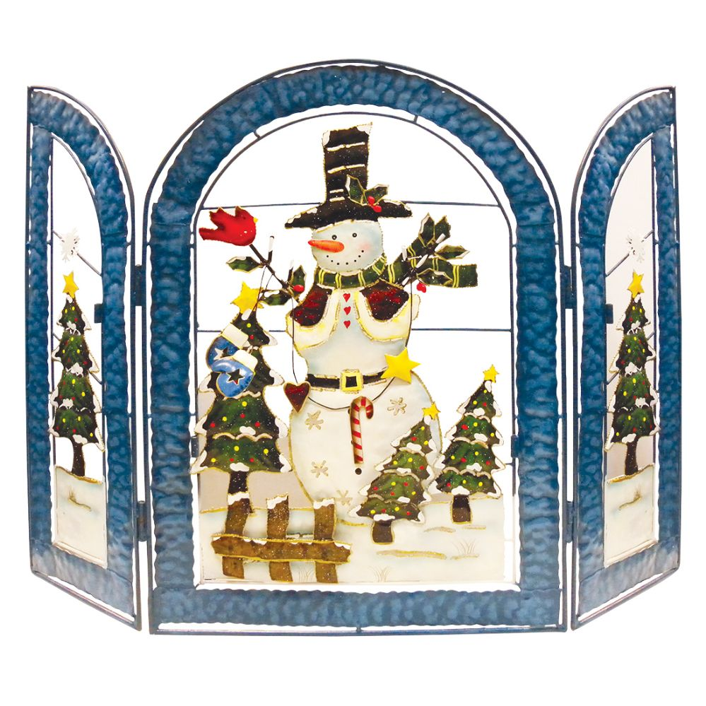 8 units of christmas snowman deco hand painted fireplace screen 22 x 30 wide christmas decorations - Christmas Fireplace Screen