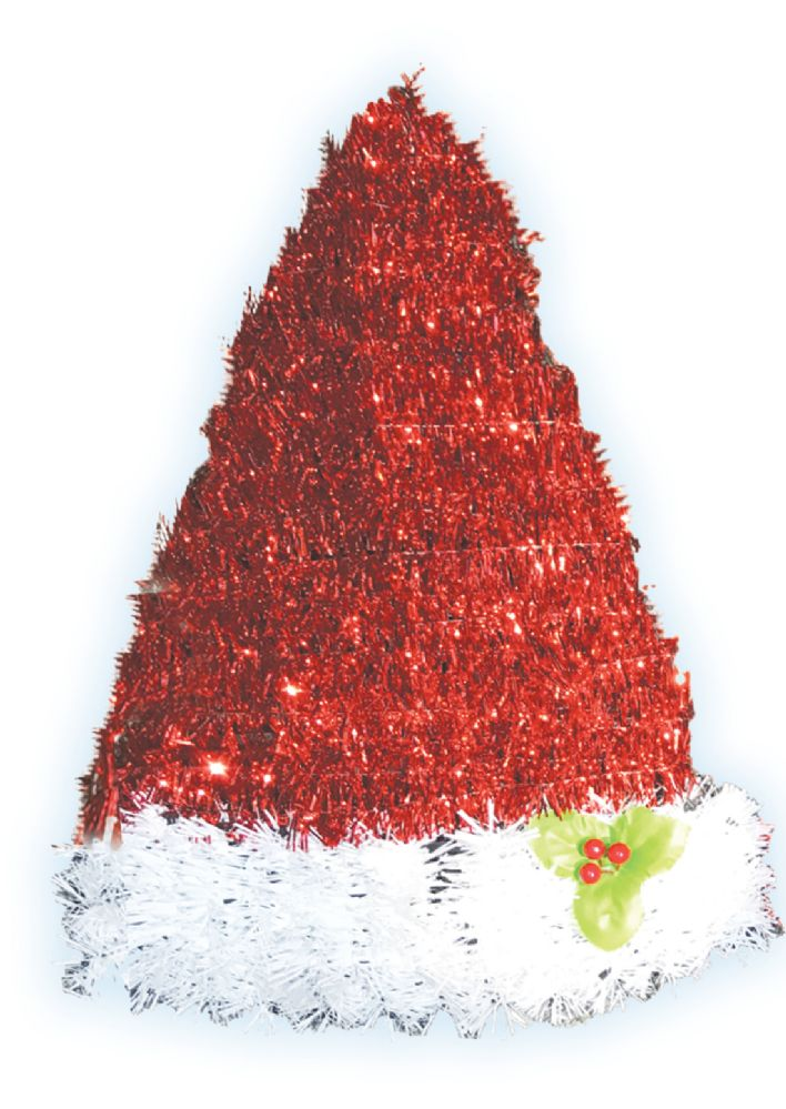 24 Units of CHRISTMAS SANTA HAT 12 INCH AND STOCKING 14 INCH DECORATION TINSEL ASSORTED - Home Goods