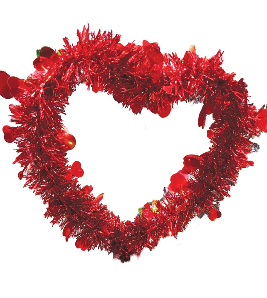 24 Units of VALENTINE HEART DECORATION 12 INCH TINSEL - Home Goods