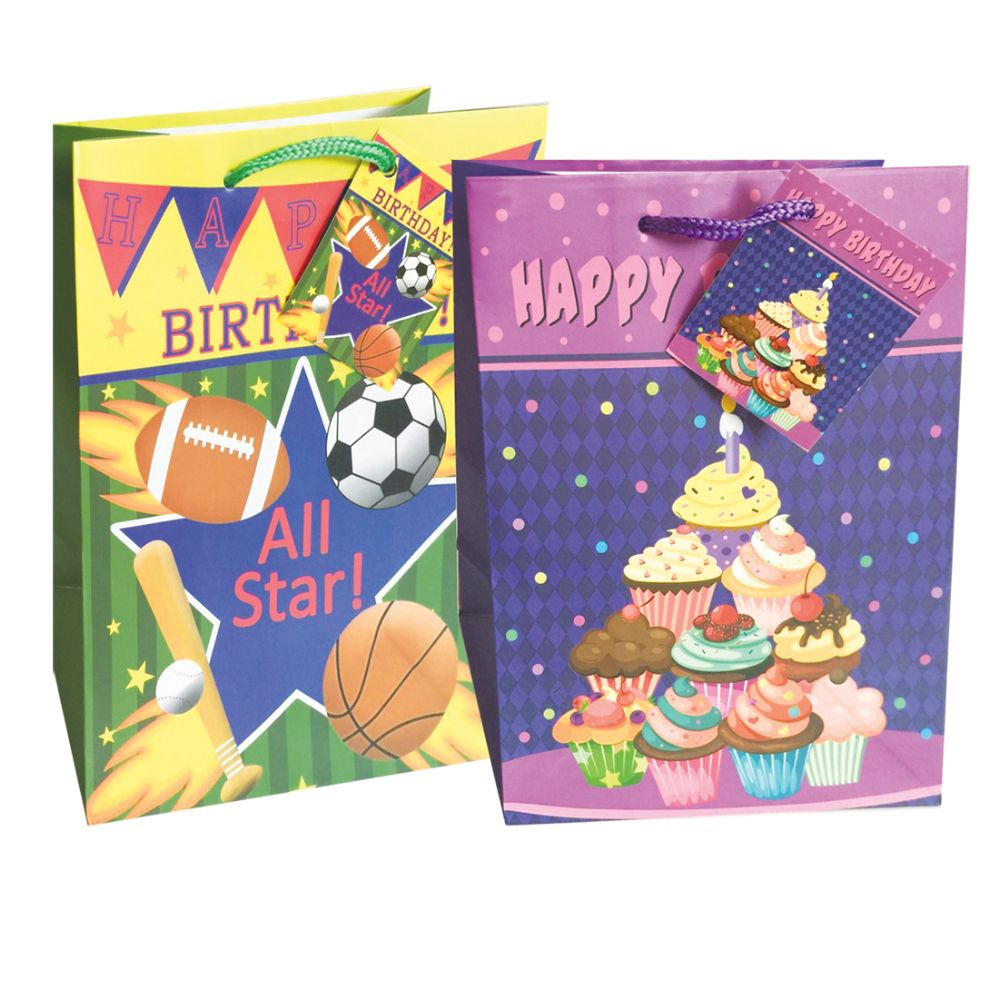 48 Units Of BIRTHDAY GIFT BAG 9 X 7 4 INCH MEDIUM ASSORTED DESIGNS