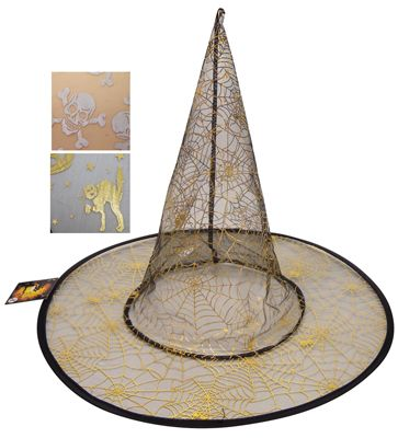 48 Units of HALLOWEEN HAT WITH GOLD PRINTING 15 INCH ASTD DESIGNS