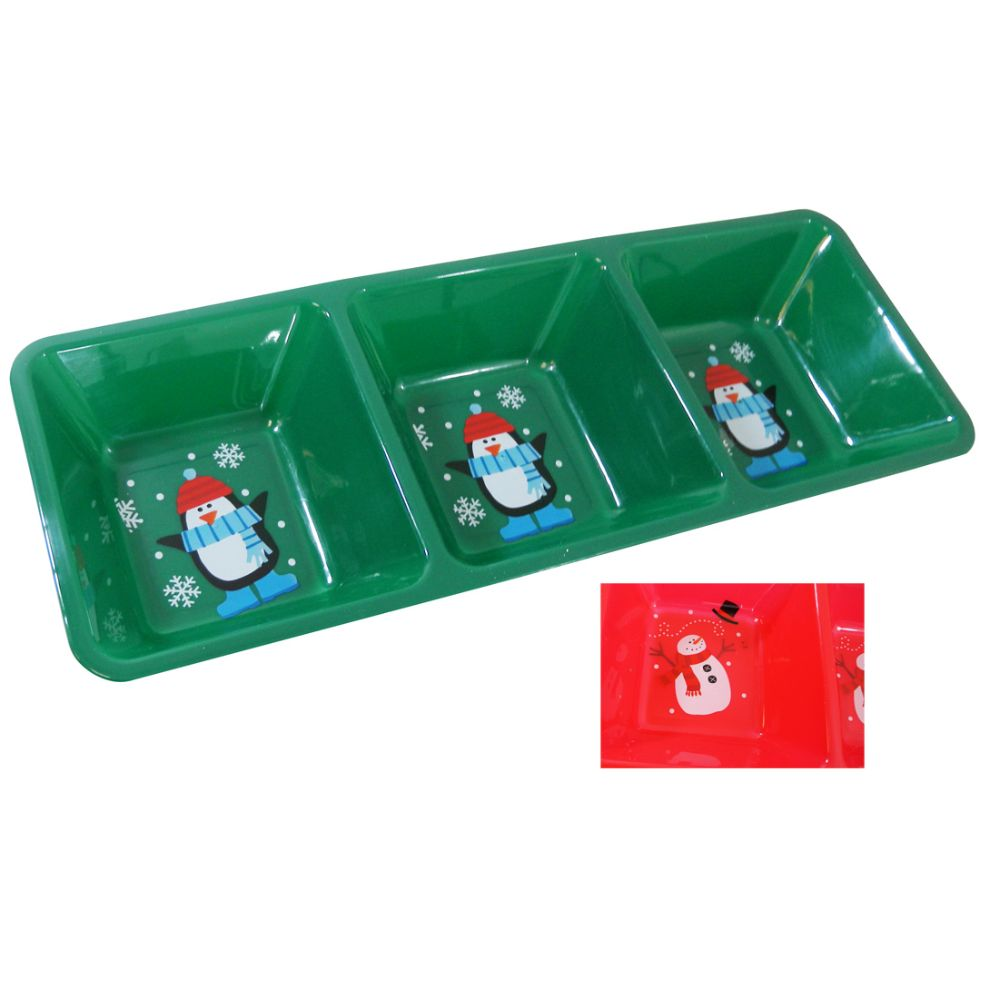 48 Units of CHRISTMAS TRAY 3 COMPARTMENT 16 X 6 INCH ASTD COLORS