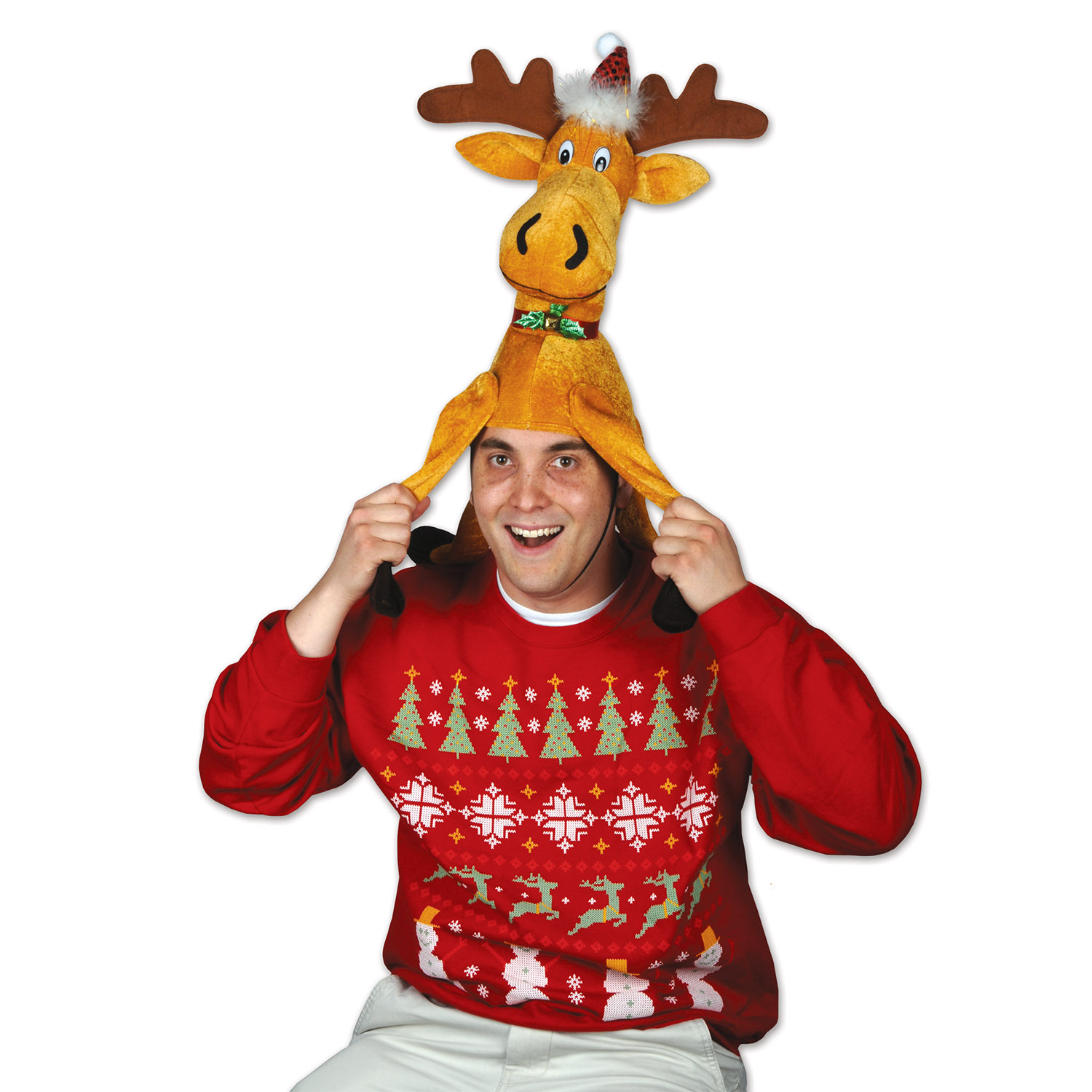 6 Units of Plush Christmas Moose Hat one size fits most - Party Hats & Tiara