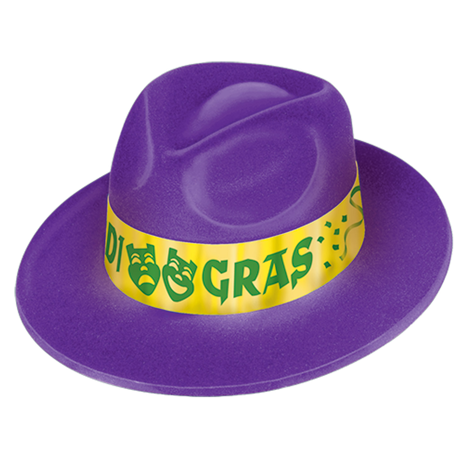 f2d82ceaee77c 25 Units of Mardi Gras Velour Fedora one size fits most - Party Hats    Tiara - at - alltimetrading.com