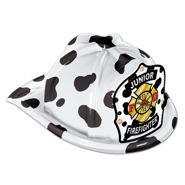 48 Units of Dalmatian Plastic Jr Firefighter Hat dalmatian shield; medium head size; elastic attached - Party Hats & Tiara