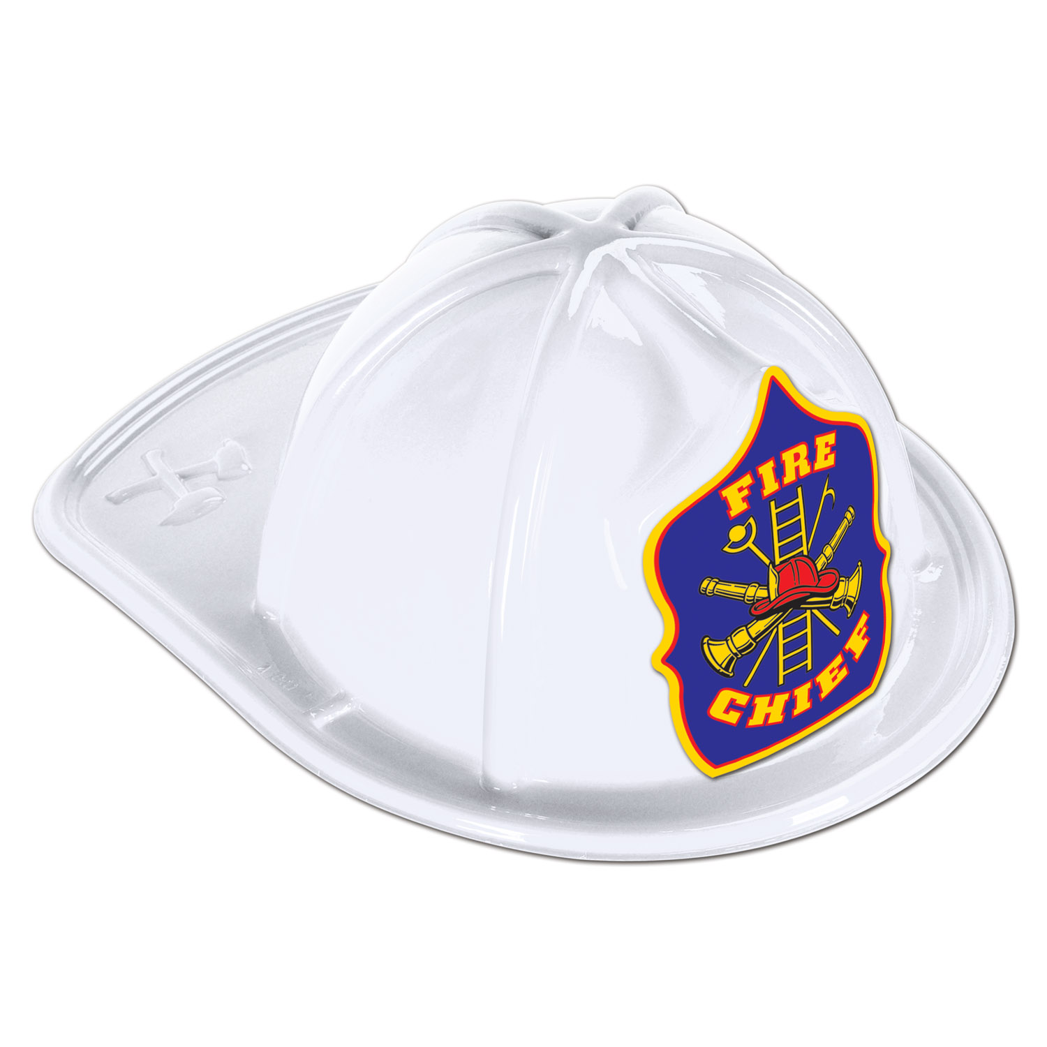 48 Units of White Plastic Fire Chief Hat blue shield; medium head size; elastic attached - Party Hats & Tiara