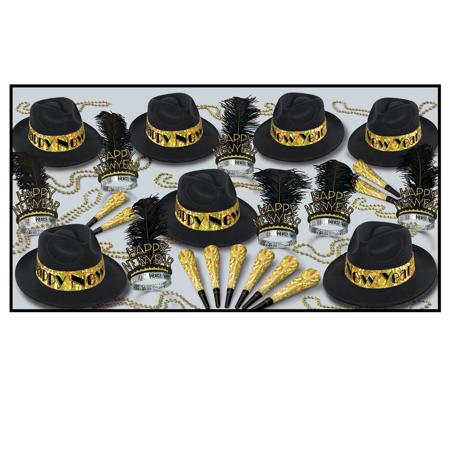 Swingin' Gold Asst for 50 - Party Accessory Sets
