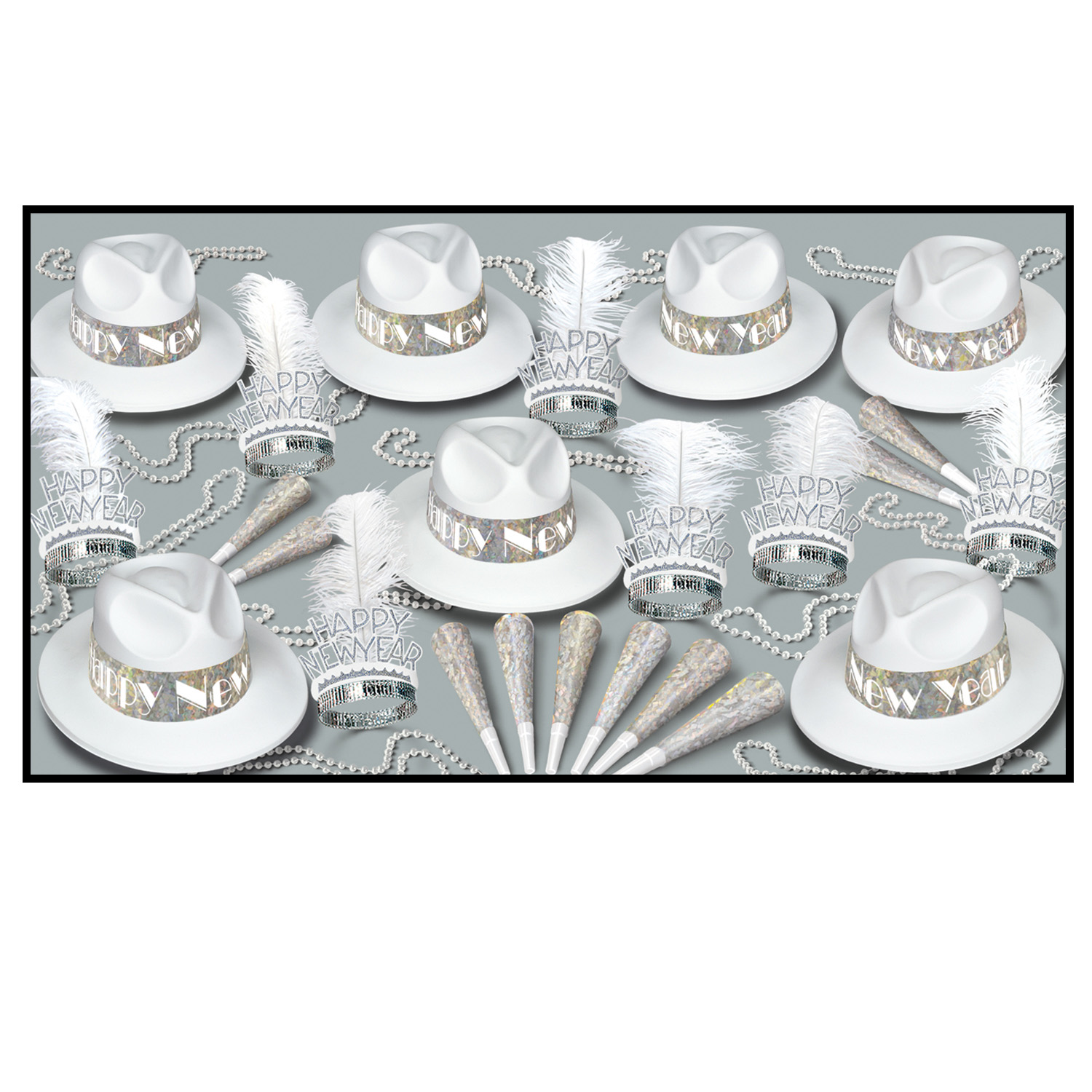 LA Swing Silver Asst for 50 - Party Accessory Sets