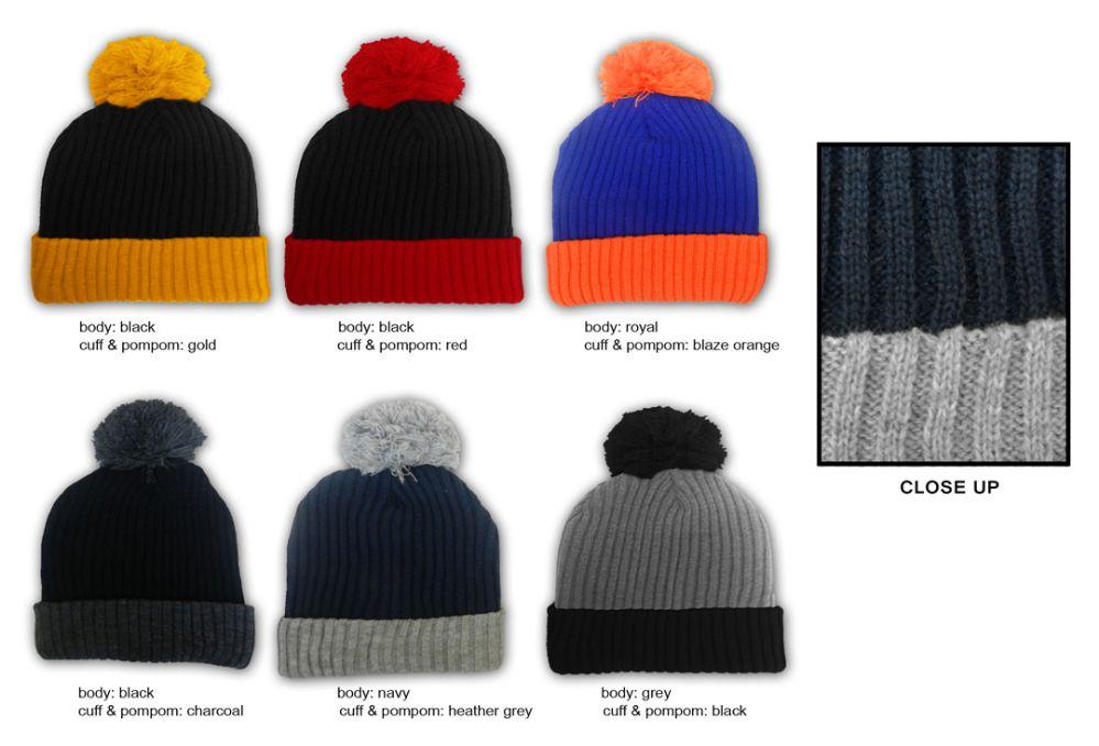 22fa31da9e7 36 Units of Premium Pom Pom Winter Knit Hats - Two-Tone - Fashion Winter  Hats - at - alltimetrading.com