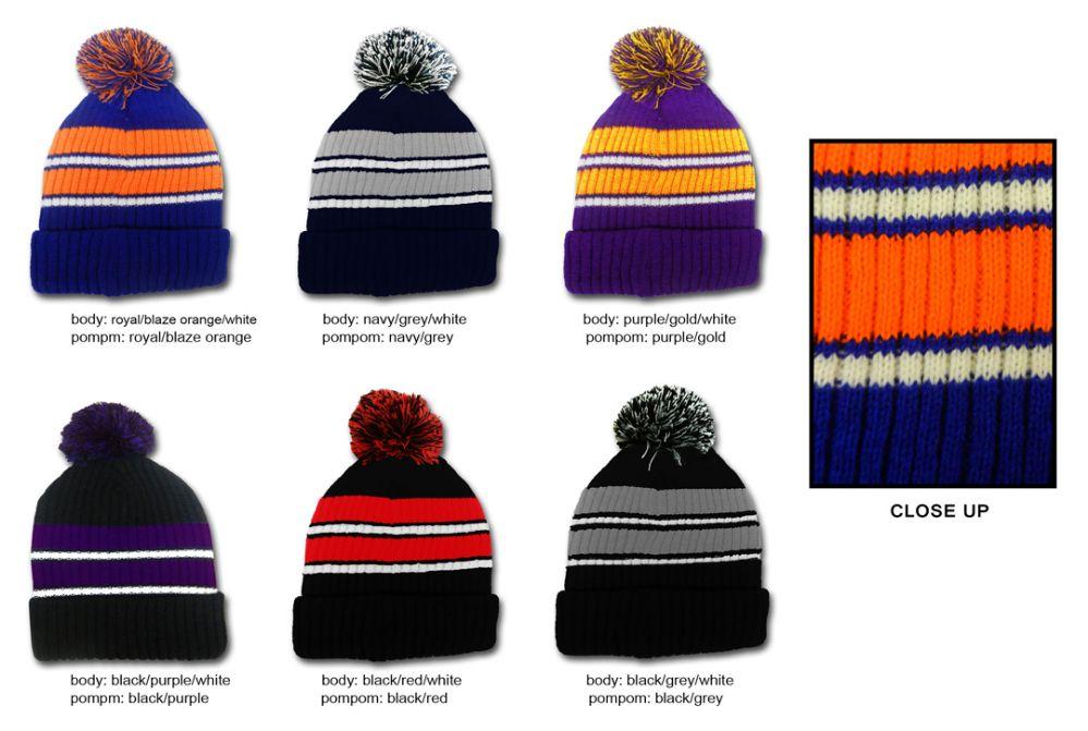 03f9451a4b2 36 Units of Premium Pom Pom Winter Knit Hats - Striped - Fashion Winter Hats  - at - alltimetrading.com