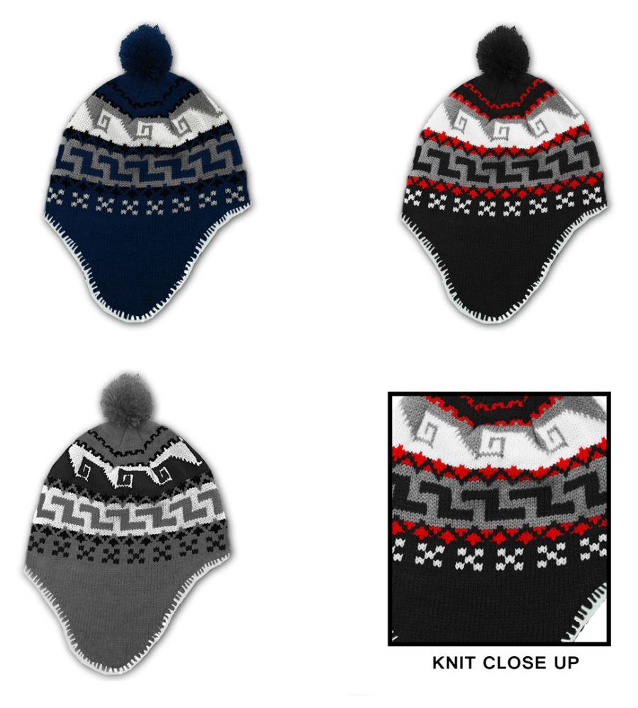 3564106422506 24 Units of Men s Fleece Lined Earflap Hats - Peruvian Prints - Winter Hats  - at - alltimetrading.com