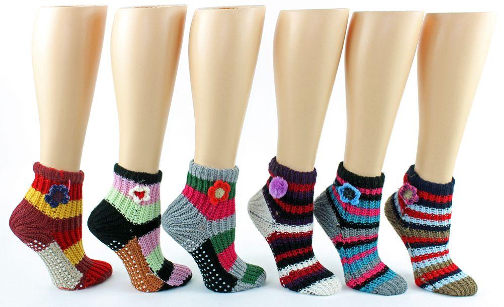 12 Units of Women's Deluxe Crochet Slipper Socks w/ Non-Skid Grips