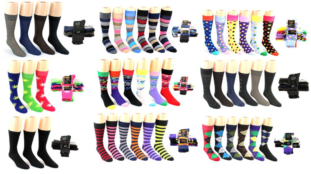 f2fa2a09bc3d 120 Units of Men s Casual Crew Dress Socks - Assorted Styles - Size ...
