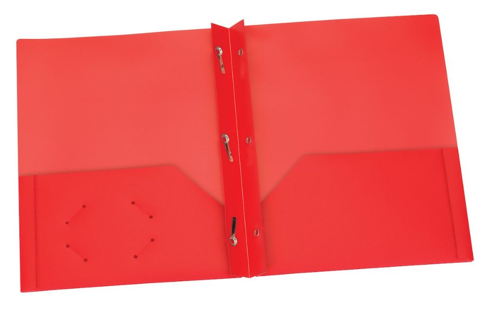 5 units of red two pocket poly portfolio with prongs folders