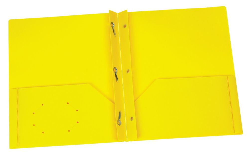 5 units of yellow two pocket poly portfolio with prongs folders