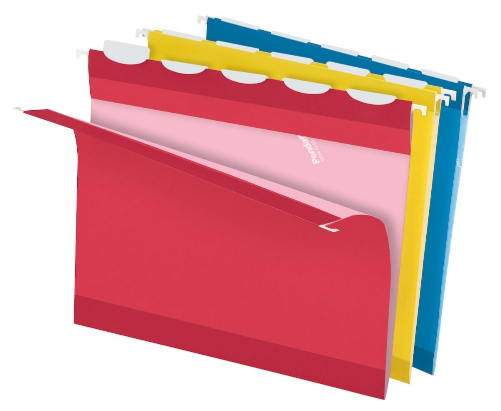 5 Units of Hanging File - Ready Tab, 1/5 Tab, Assorted Colors (Blue ...