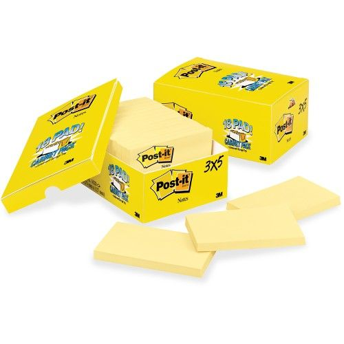 """288 Pads of 100 Sheets Wholesale For Resale-Sticky Notes 3/"""" x 3/"""" Yellow"""