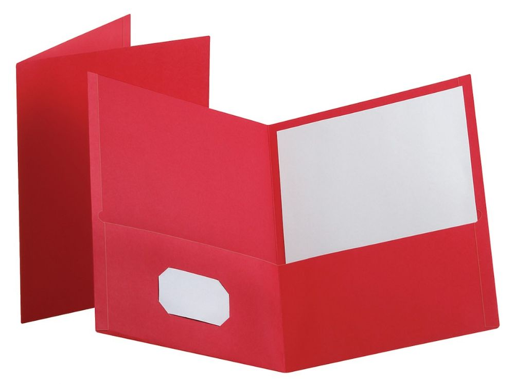 Two Pocket Portfolio Folders RED 50 Pieces Letter Size Paper Folders 50-Pack Red by Better Office Products