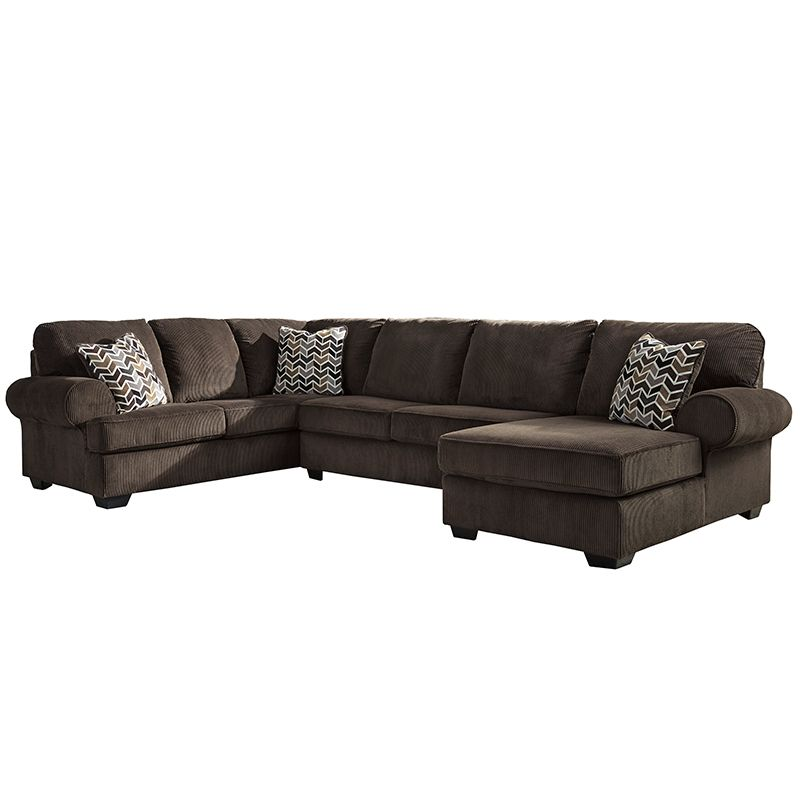 Signature Design By Ashley Jinllingsly 3 Piece Laf Sofa Sectional In Chocolate Corduroy Sectionals At Alltimetrading