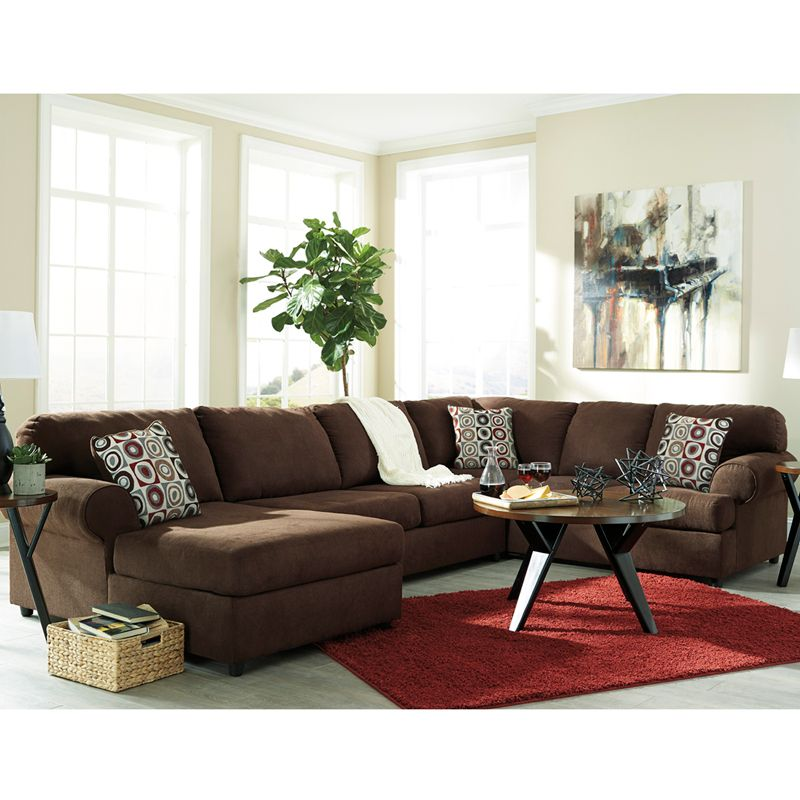 Signature Design By Ashley Jayceon 3 Piece Raf Sofa Sectional In Java Fabric Sectionals At Alltimetrading
